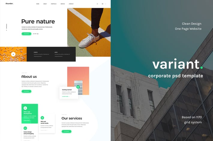 Thumbnail for Variant - Corporate PSD Landing Page