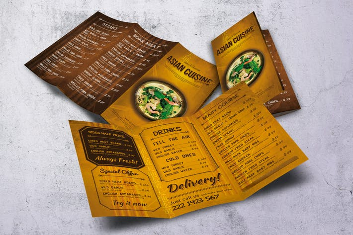 Thumbnail for Asian Cuisine Trifold Menu Design