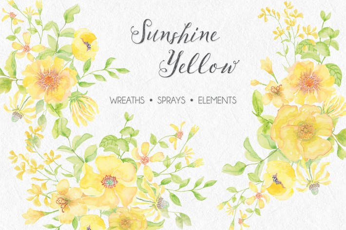 Thumbnail for Sunshine Yellow: Watercolor Wreaths and Sprays