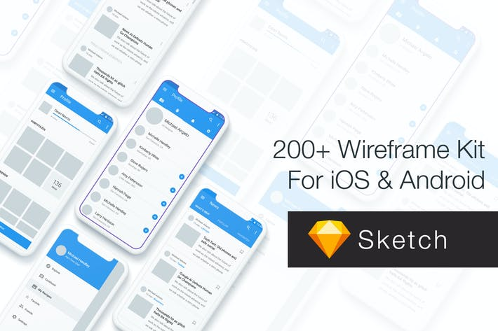 Thumbnail for Baseframe - Wireframe UI KIT 200++ Sketch Version