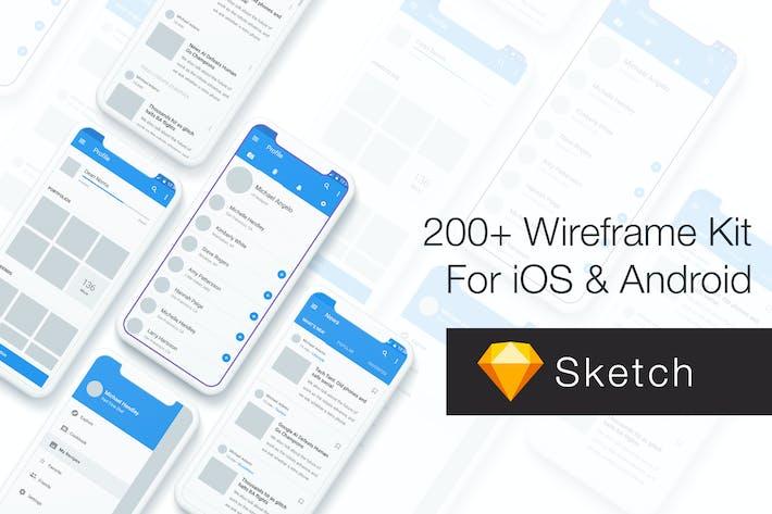 Cover Image For Baseframe - Wireframe UI KIT 200++ Sketch Version