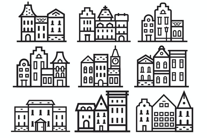 Thumbnail for Europe Streets and Houses Icons