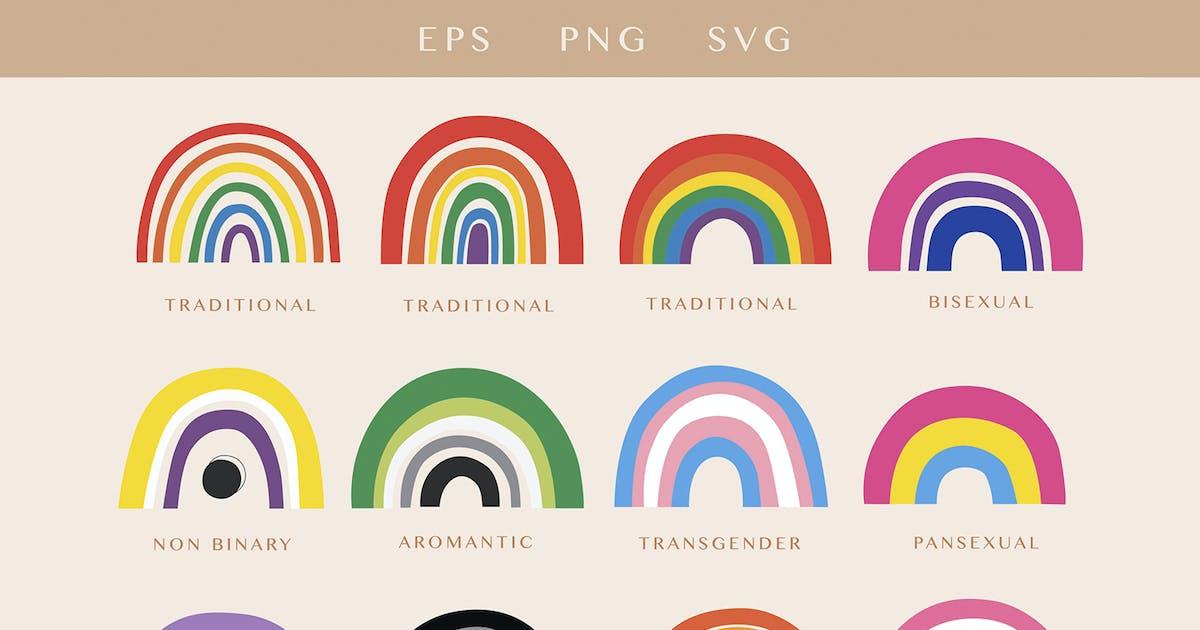 Download LGBTQ Pride Rainbow Flags Set by NassyArt