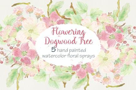 Set of 5 Sprays of Dogwood Tree Flowers