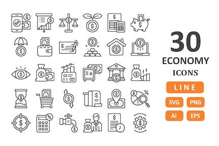 30 Íconos económicos - Línea