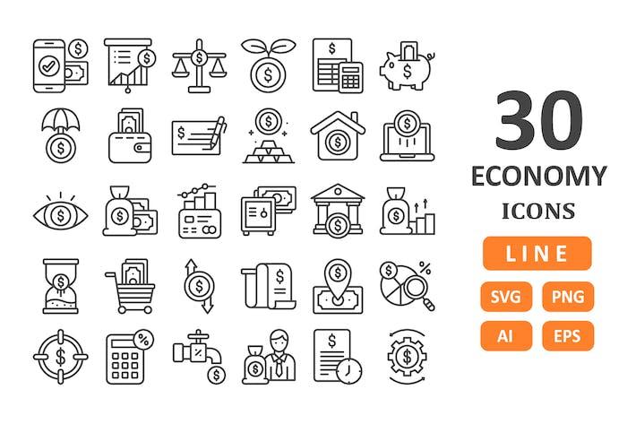 30 Economy Icons - Linie