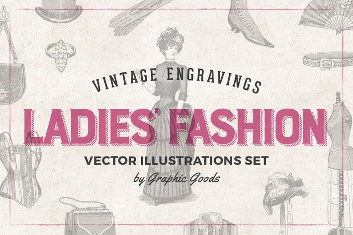 Thumbnail for Ladies' Fashion Engraving Illustration Set
