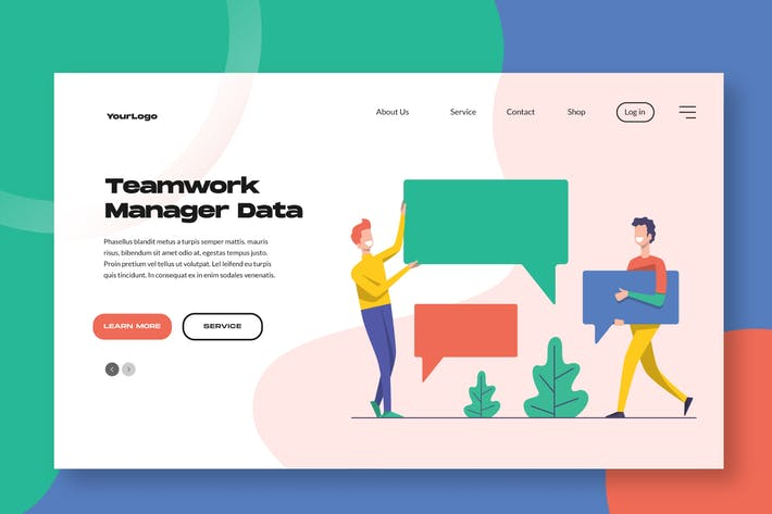Thumbnail for Team Work Manager Landing Page / Apps Illustration