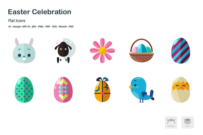 Cover Image For Easter Celebration Flat Colored Icons