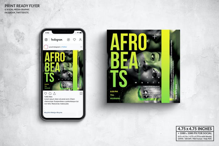 Thumbnail for Afrobeat Party Square Flyer & Social Media