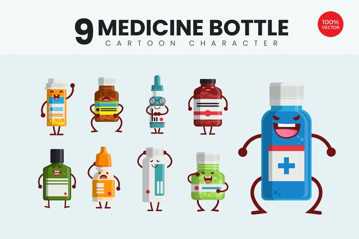 Thumbnail for 9 Cute Medicine Bottle Vector Illustration