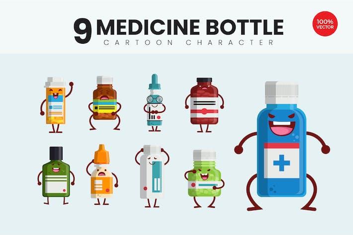 9 Nette Medizin Flasche Vektor Illustration