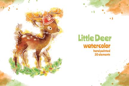 Little Deer - 30 Watercolor for Adobe Illustrator