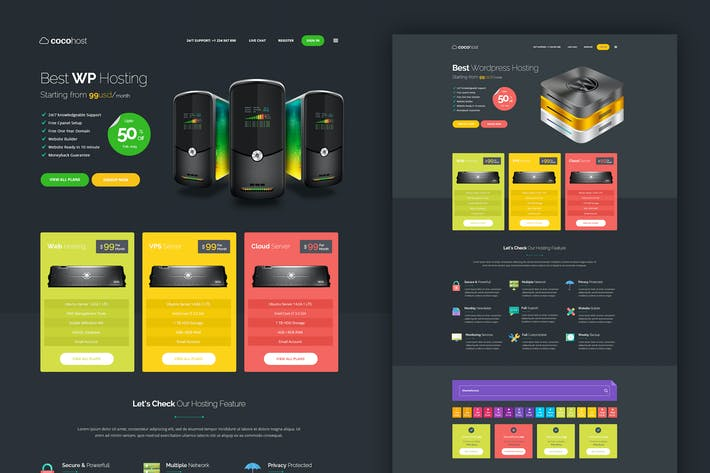 Thumbnail for Web Hosting Dark PSD Template