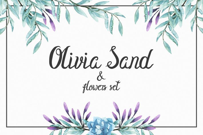Thumbnail for Olivia Sand Typeface & Flowers set