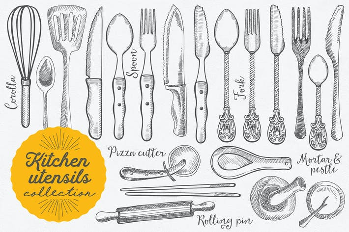 Thumbnail for Kitchen Utensils Hand-Drawn Graphic
