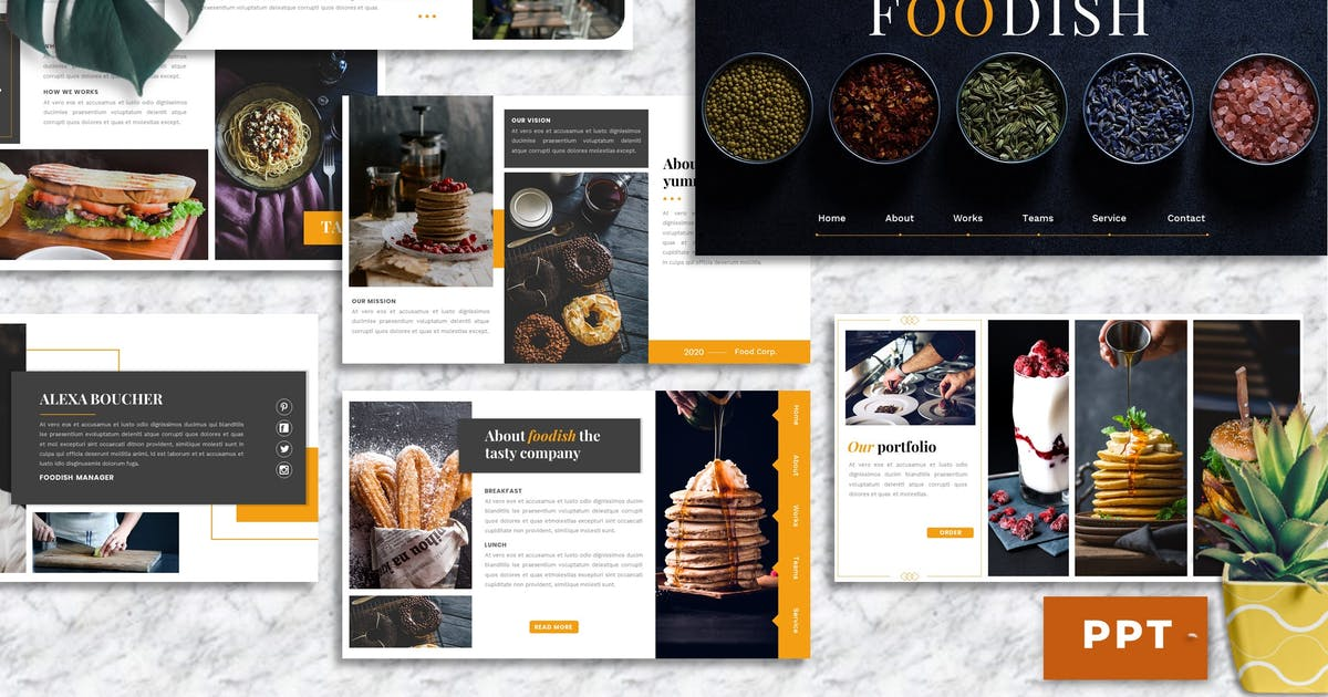 Download Foodish – Food & Beverage PowerPoint Template by Yumnacreative
