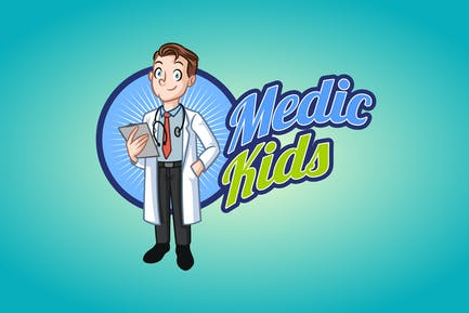 Medic Kids - Doctor Boy Mascot Logo
