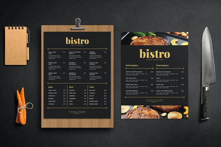 Thumbnail for SImple Black and Gold Food Menu