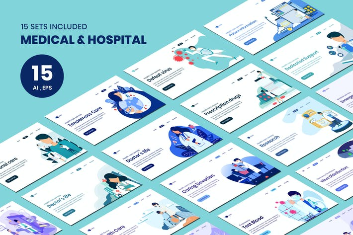 Thumbnail for Medical & Hospital Concept Landing Page Template