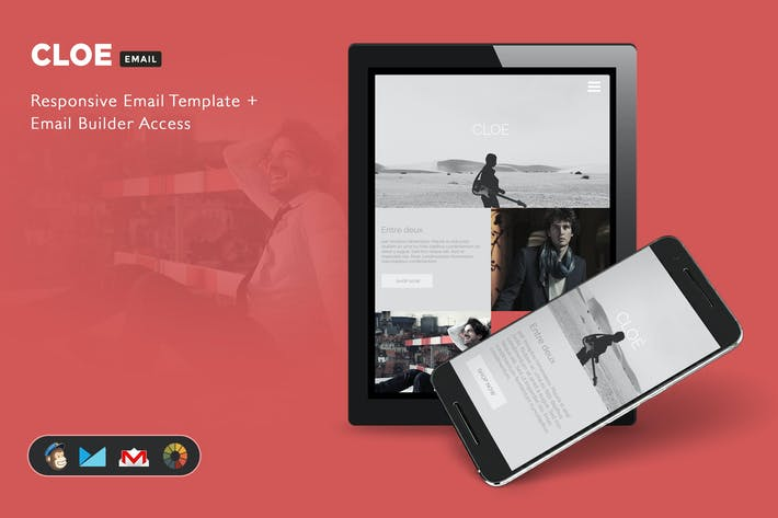 Cover Image For Cloe - Responsive Email Template + Builder Access
