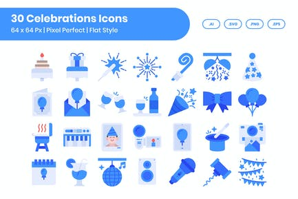 30 Celebrations Icons Set - Flat