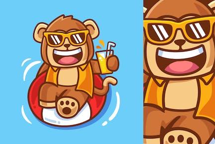 Karikatur-Affe mit Schwimmring-Abbildung