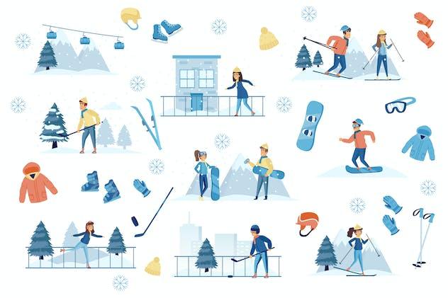Winter Sports Flat Scene Creator Kit