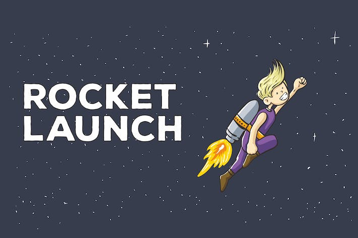 Thumbnail for Rocket Launch Vector Illustration Artwork