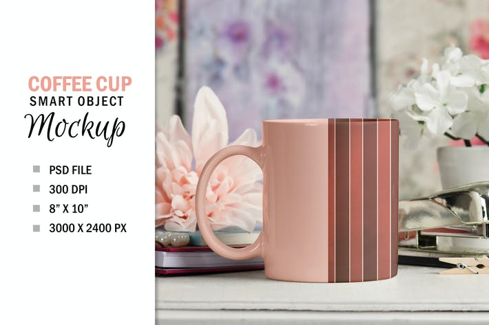 Thumbnail for Pretty Coffee Cup Mug Mockup PSD