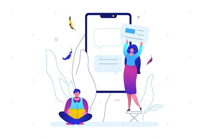 Thumbnail for Online chatting - flat design style illustration