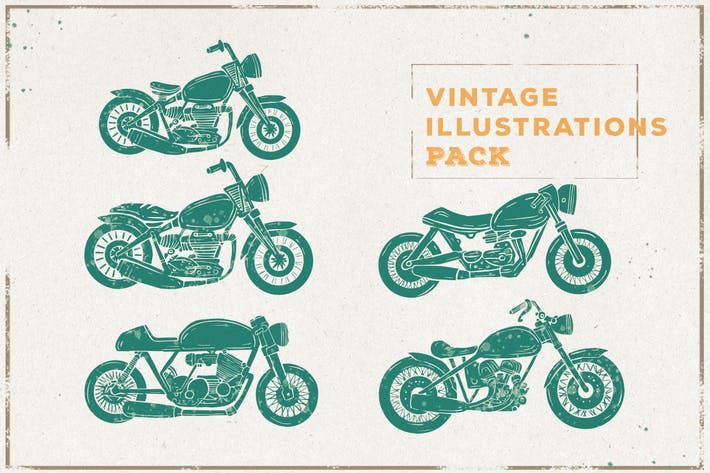 Thumbnail for Vintage Motocycle Illustration Pack