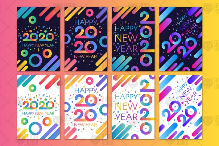 Thumbnail for Modern Happy 2020 New Year Banners Set