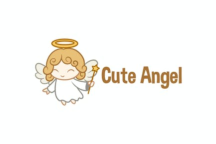Logo de mascotte petit ange mignon