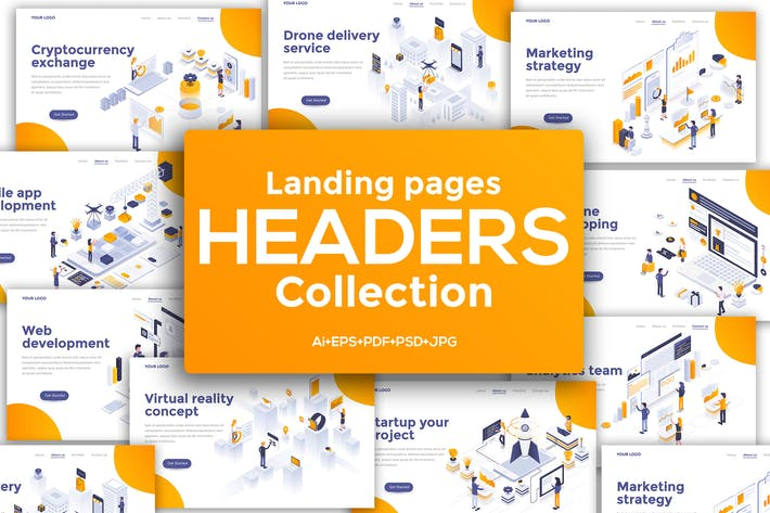 Thumbnail for Landing page headers template on various topics