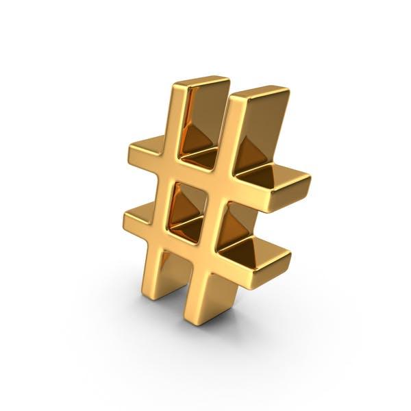 Thumbnail for Gold Hash Tag Symbol