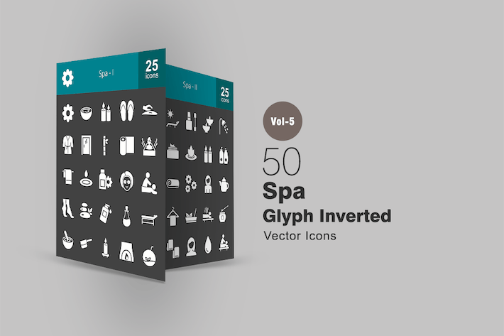 Thumbnail for 50 Spa Glyph Inverted Icons