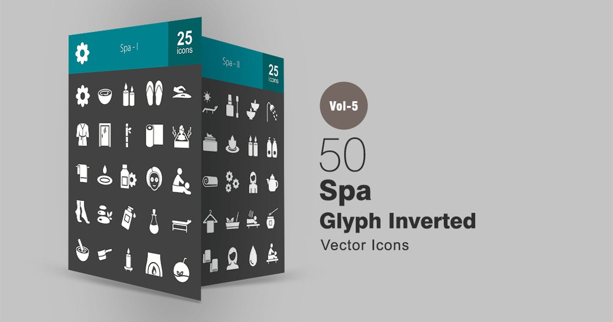 50 Spa Glyph Inverted Icons by IconBunny