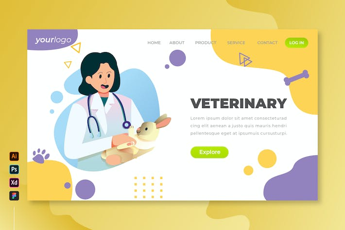 Thumbnail for Veterinary - Vector Landing Page