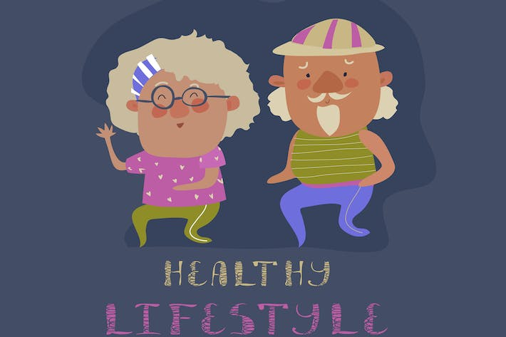 Thumbnail for Old couple man and woman running. Flat design