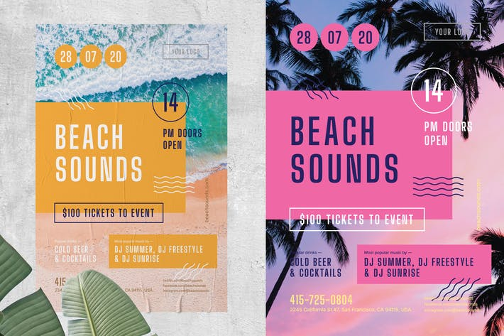 Thumbnail for Beach Sounds Poster Template