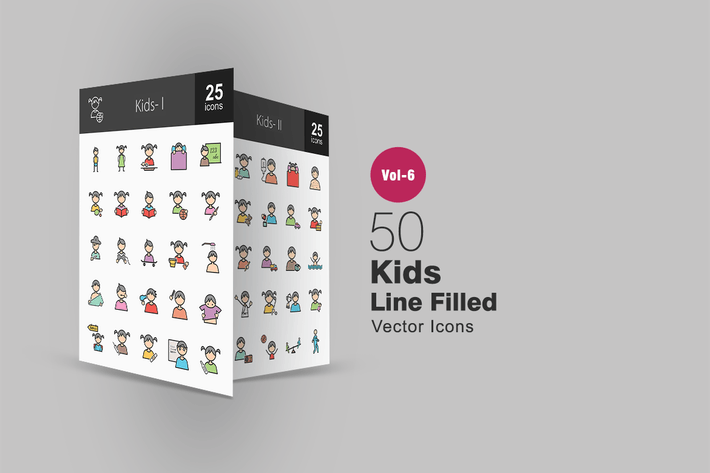 Thumbnail for 50 Kids Filled Line Icons