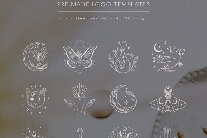 Vector Illustrations: White Color. Mystic symbols.