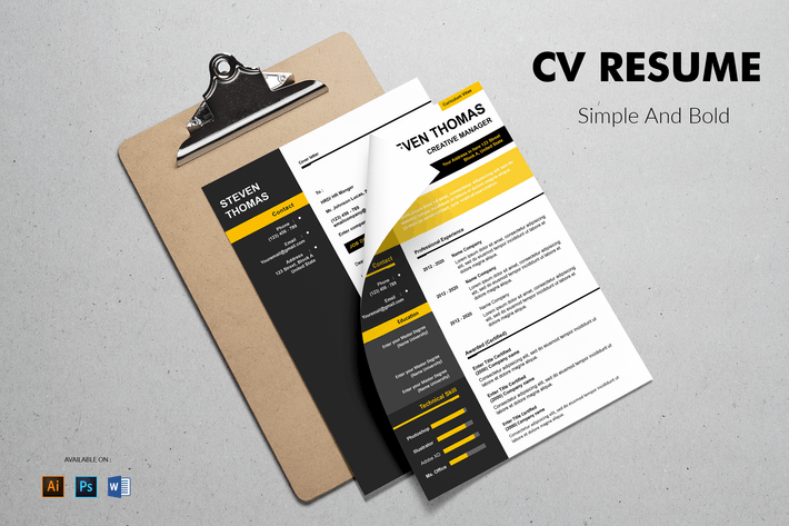 Thumbnail for CV Resume Simple And Bold