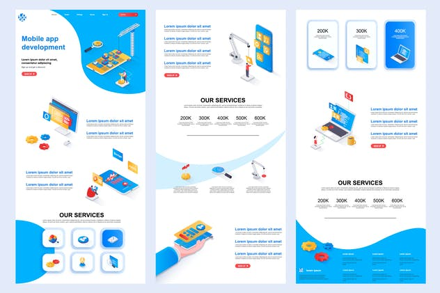 Mobile Development Isometric Landing Page Template