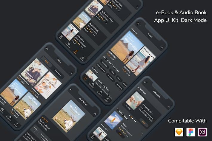 e-Book & Audio Book App UI Kit Dark Mode