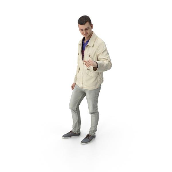 Man Standing Gesturing