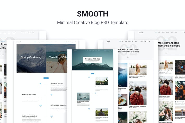 Thumbnail for Smooth | Minimal Blog PSD Template