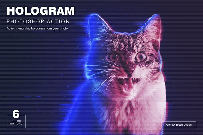 Thumbnail for Hologram Photoshop Action