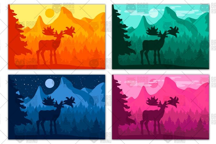 Thumbnail for Landscape with deer in mountain forest